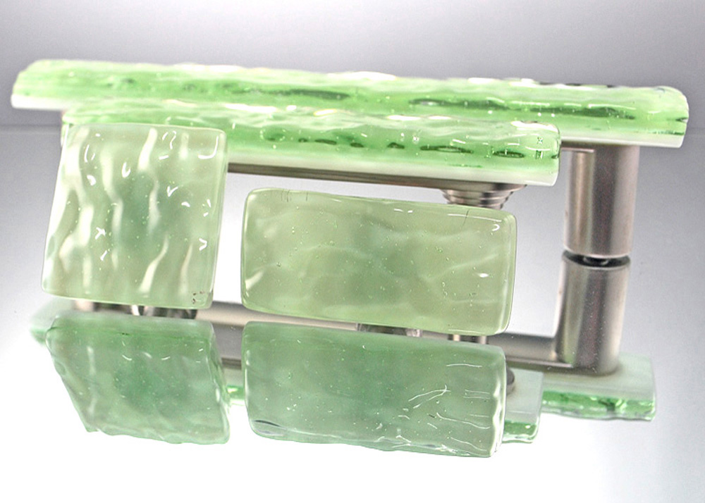 Green Glass Cabinet Knobs And Drawer Pulls: Green Mist Handmade Glass Cabinet Hardware