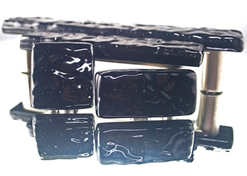 Black Handmade Glass Knob and Pull Cabinet Hardware
